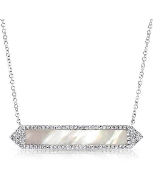 Anne Sisteron - Metallic 14kt White Gold Mother Of Pearl Diamond Bar Necklace - Lyst