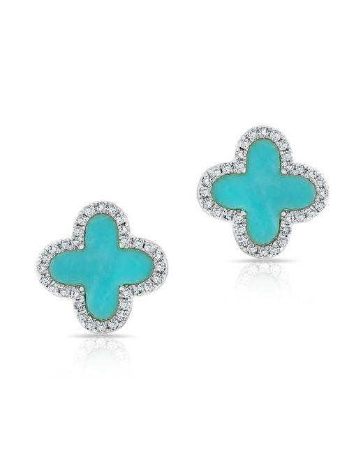 Anne Sisteron   Blue 14kt White Gold Diamond Turquoise Fleur Stud Earrings   Lyst
