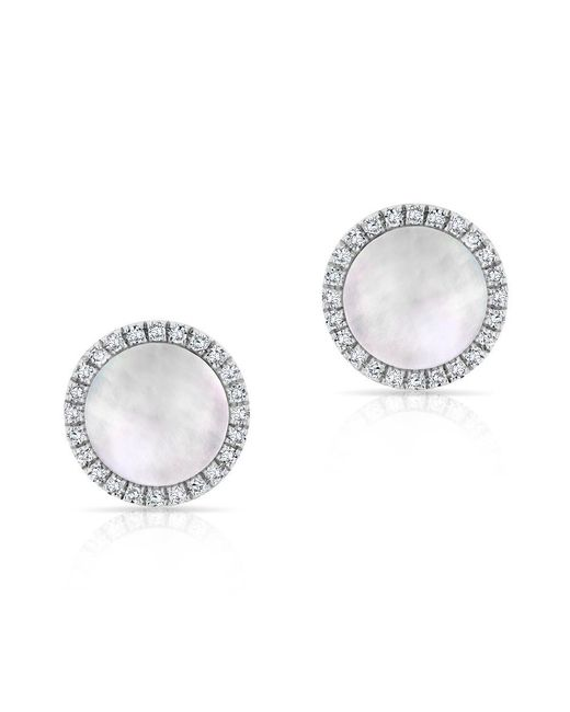 Anne Sisteron | Metallic 14kt White Gold Diamond Mother Of Pearl Disc Stud Earrings | Lyst