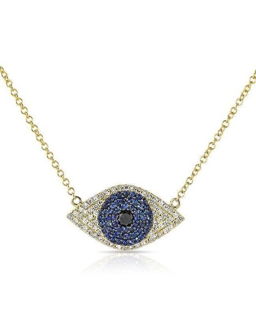 Anne Sisteron - 14kt Yellow Gold Blue Sapphire Diamond Evil Eye Necklace - Lyst
