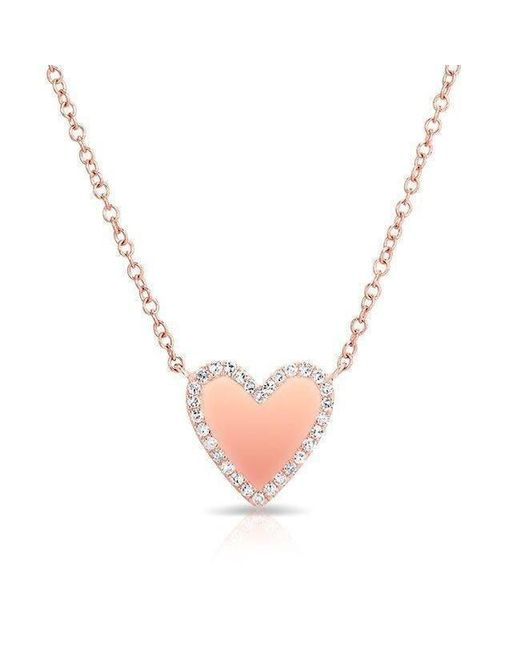 Anne Sisteron | Metallic 14kt Rose Gold Diamond Trimmed Heart Necklace | Lyst