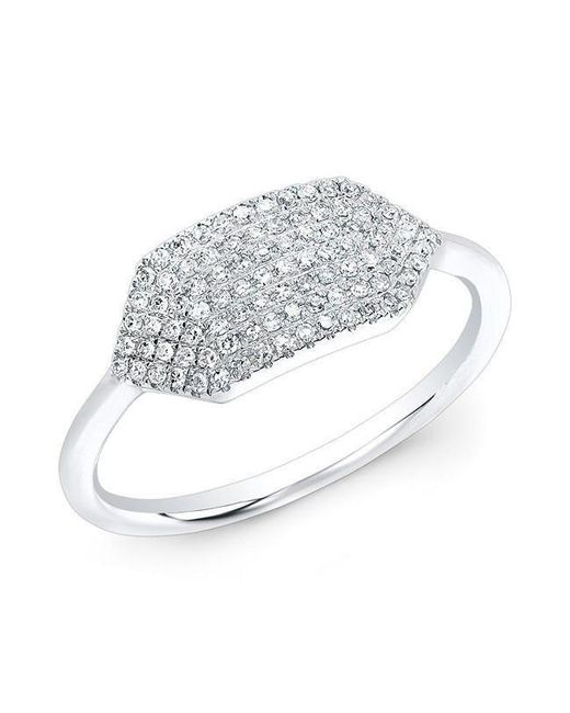 Anne Sisteron - Metallic 14kt White Gold Diamond Buckle Ring - Lyst