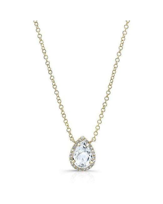 Anne Sisteron - Metallic 14kt Yellow Gold Diamond White Topaz Pear Necklace - Lyst