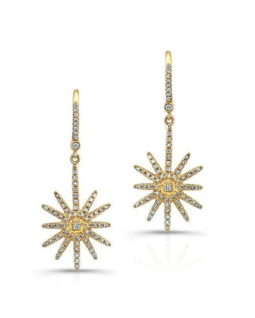 Anne Sisteron   Metallic 18kt Yellow Gold Diamond Nouveau Starburst Earrings   Lyst