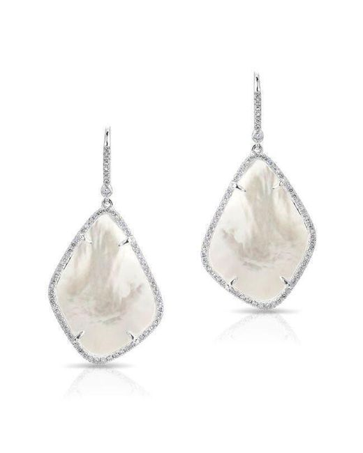Anne Sisteron - 14kt White Gold Mother Of Pearl Organic Diamond Earrings - Lyst