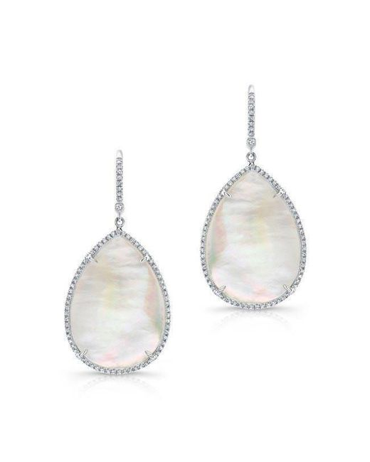 Anne Sisteron - 14kt White Gold Mother Of Pearl Diamond Pear Earrings - Lyst