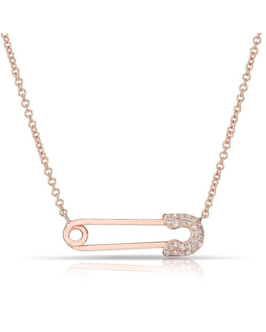 Anne Sisteron - Metallic 14kt Rose Gold Diamond Safety Pin Necklace - Lyst
