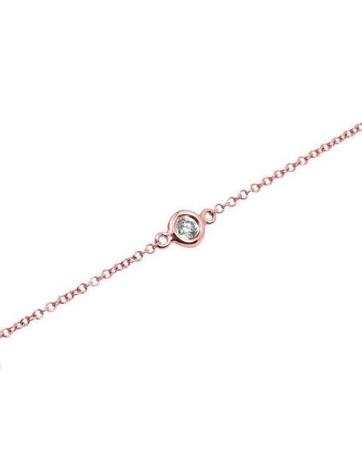 Anne Sisteron - Metallic 14kt Rose Gold Diamond Solitaire Bracelet - Lyst