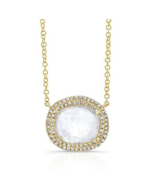 Anne Sisteron - Metallic 14kt Yellow Gold Diamond Slice Double Halo Necklace - Lyst