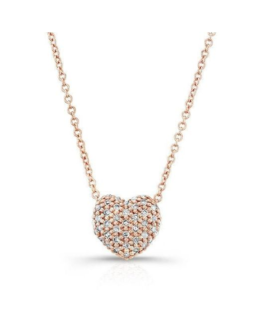 Anne Sisteron | Metallic 14kt Rose Gold Diamond Rounded Heart Necklace | Lyst