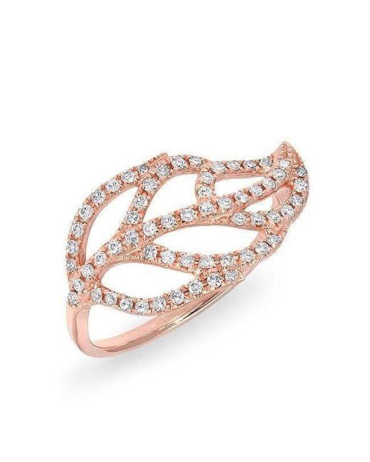 Anne Sisteron - Multicolor 14kt Rose Gold Diamond Leaf Ring - Lyst