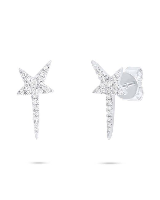 Anne Sisteron - Metallic 14kt White Gold Diamond Star Wand Earrings - Lyst