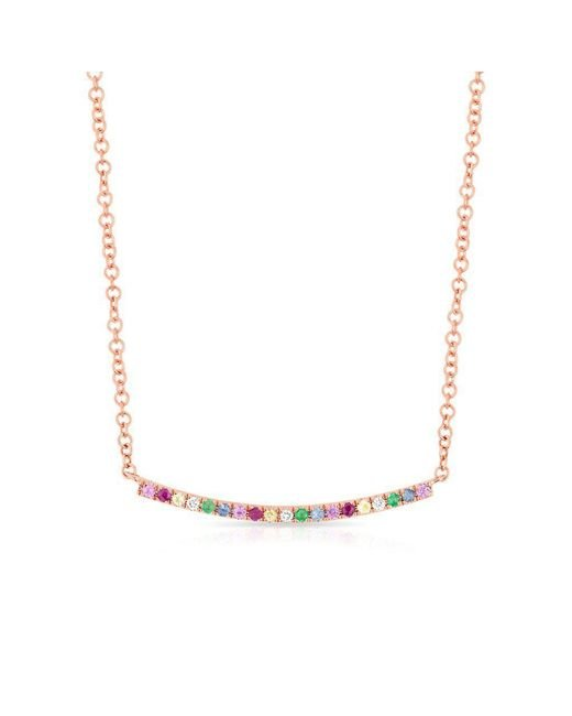 Anne Sisteron - Metallic 14kt Rose Gold Rainbow Diamond Curved Bar Necklace - Lyst