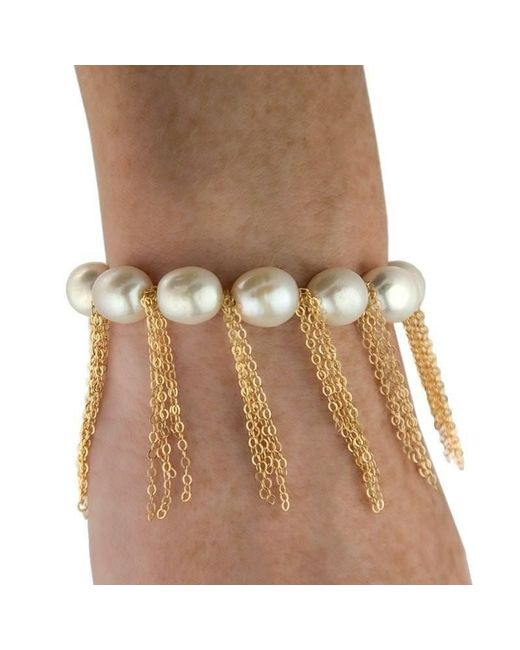 Anne Sisteron - Multicolor White Pearl Bracelet With Yellow Gold-filled Fringe Chain - Lyst