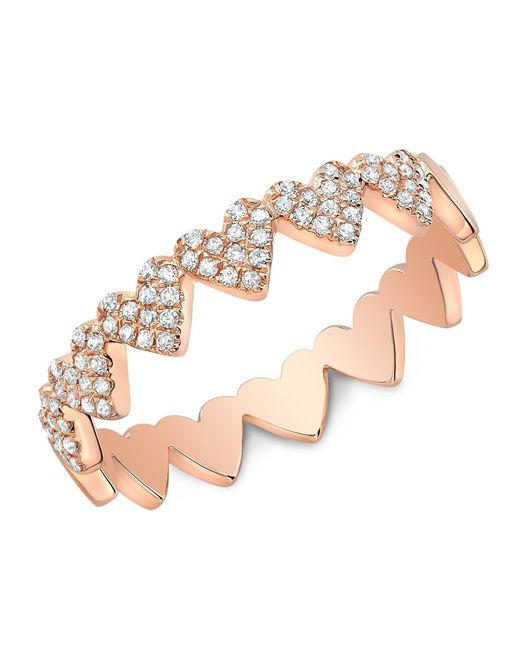 Anne Sisteron - Multicolor 14kt Rose Gold Diamond Hearts Ring - Lyst