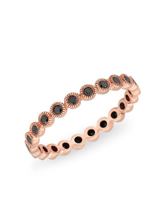 Anne Sisteron - Metallic 14kt Rose Gold Bezel Set Black Diamond Ring - Lyst