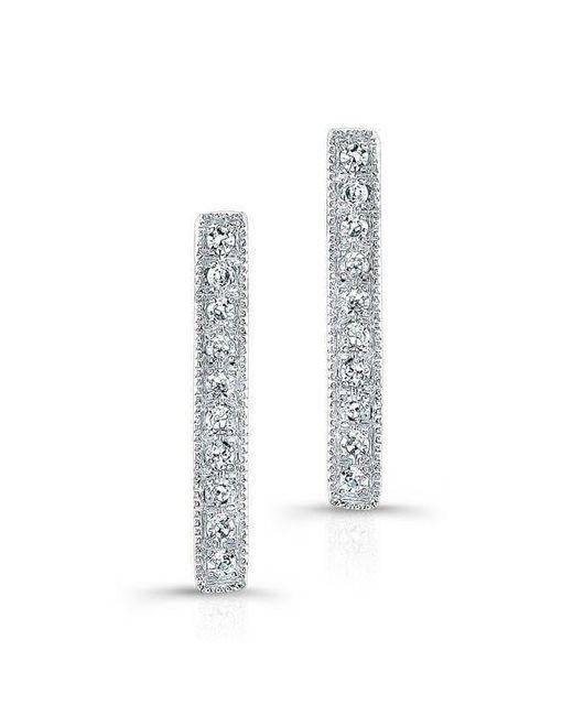 Anne Sisteron - 14kt White Gold Diamond Scalloped Bar Stud Earrings - Lyst