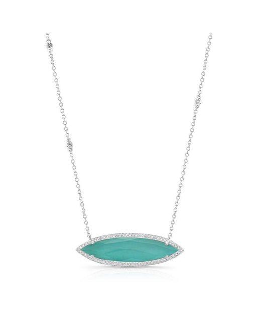 Anne Sisteron   Multicolor 14kt White Gold Triple Diamond Chain Turquesa Necklace   Lyst