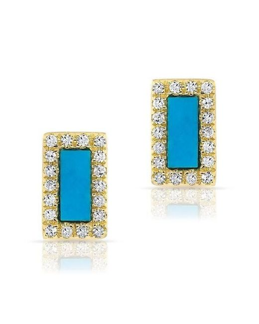 Anne Sisteron - Blue 14kt Yellow Gold Turquoise Diamond Bar Stud Earrings - Lyst