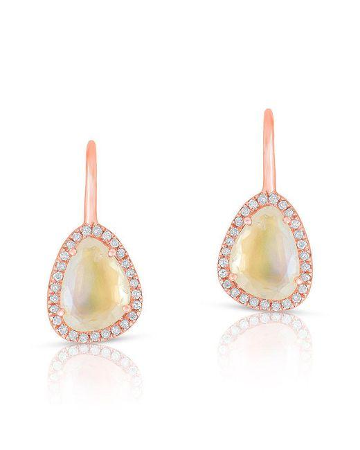 Anne Sisteron - Metallic 14kt Rose Gold Diamond Moonstone Organic Wireback Earrings - Lyst