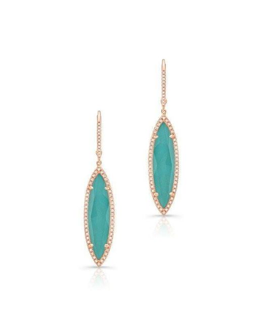Anne Sisteron - Blue 14kt Rose Gold Diamond Turquoise Turquesa Small Marquis Earrings - Lyst