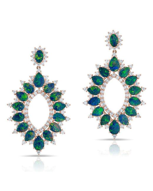 Anne Sisteron | Blue 14kt Rose Gold Diamond Opal Kai Earrings | Lyst
