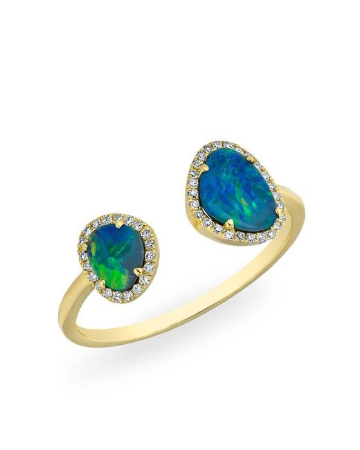 Anne Sisteron - Multicolor 14kt Yellow Gold Opal Diamond Doublet Ring - Lyst