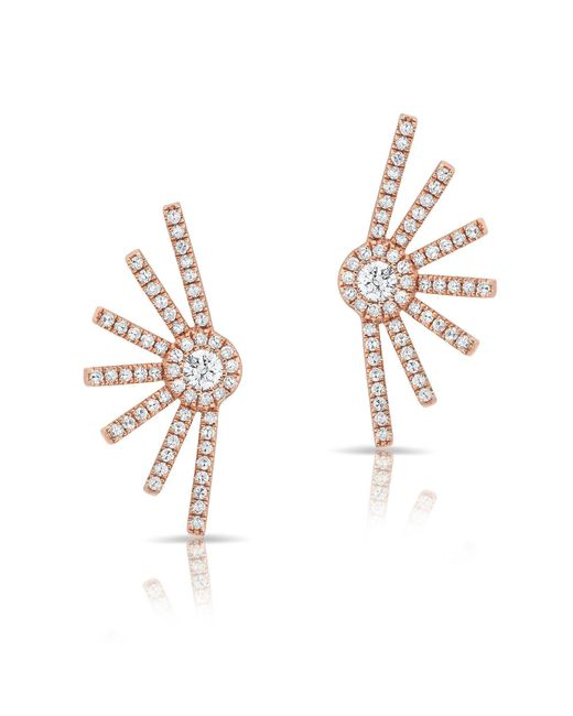 Anne Sisteron - Metallic 14kt Rose Gold Diamond Deco Stud Earrings - Lyst