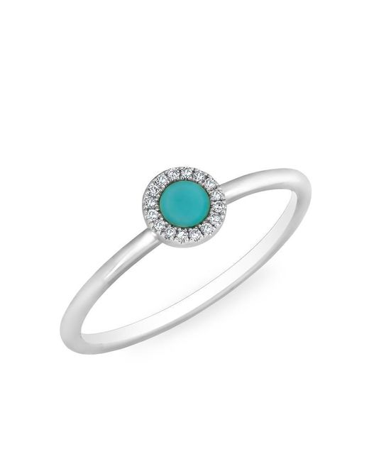 Anne Sisteron | Multicolor 14kt White Gold Diamond Turquoise Round Disc Ring | Lyst