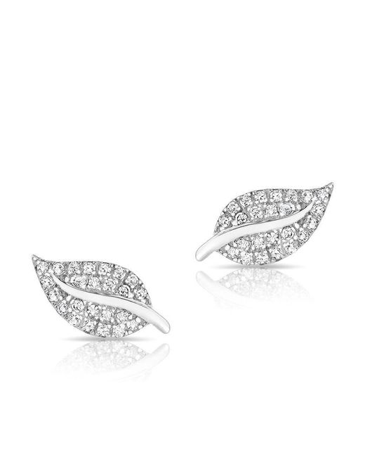 Anne Sisteron - Multicolor 14kt White Gold Diamond Mini Tea Leaf Stud Earrings - Lyst