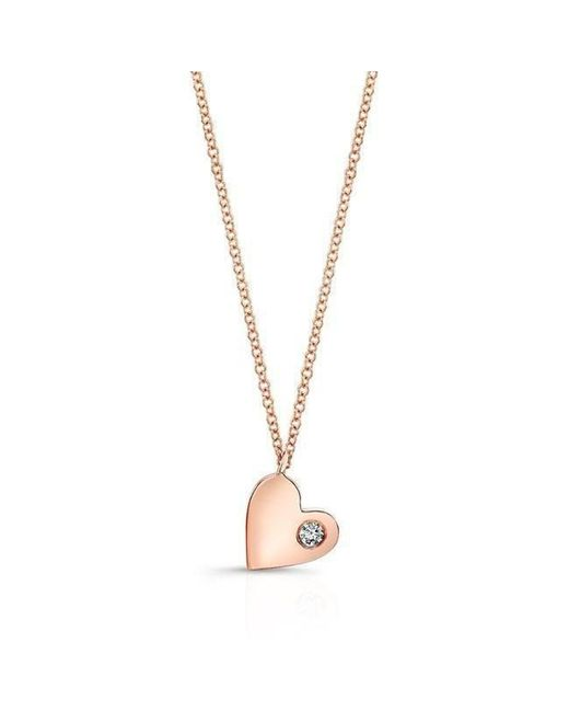 Anne Sisteron - Metallic 14kt Rose Gold Diamond In My Heart Necklace - Lyst