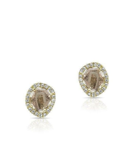 Anne Sisteron | Metallic 14kt Yellow Gold Mini Diamond Slice Stud Earrings | Lyst