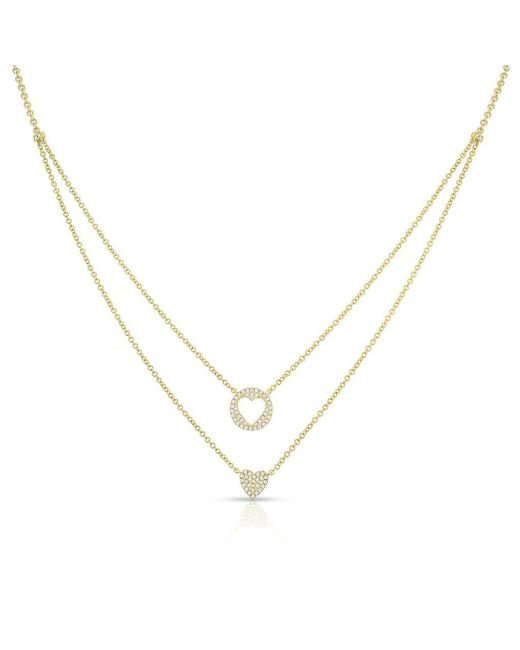 Anne Sisteron - Metallic 14kt Yellow Gold Diamond Heart To Heart Necklace - Lyst