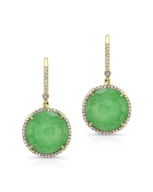 Anne Sisteron - Metallic 14kt Yellow Gold Chrysoprase Diamond Round Earrings - Lyst