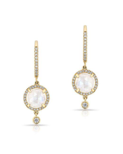 Anne Sisteron - Metallic 14kt Yellow Gold Diamond Moonstone Kennedy Wireback Earrings - Lyst