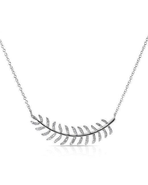 Anne Sisteron | Metallic 14kt White Gold Diamond Crescent Palm Necklace | Lyst