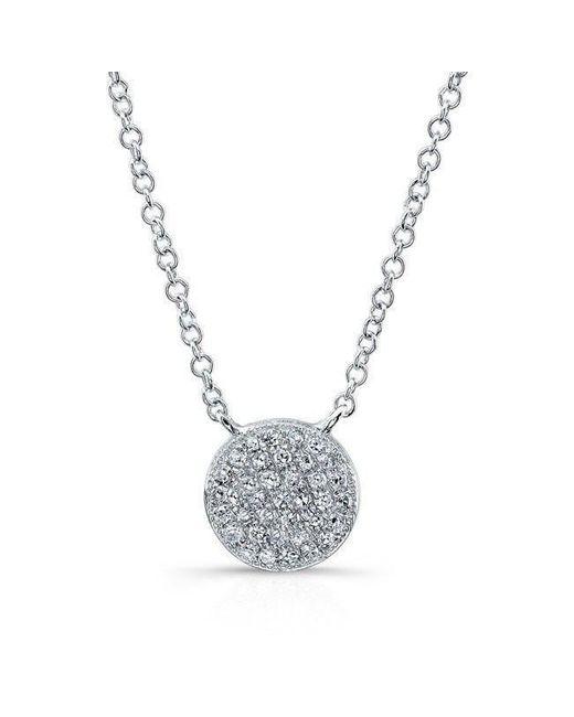 Anne Sisteron - Metallic 14kt White Gold Diamond Rounded Disc Necklace - Lyst