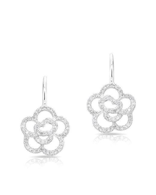 Anne Sisteron - Multicolor 14kt White Gold Diamond Camellia Flower Wireback Earrings - Lyst