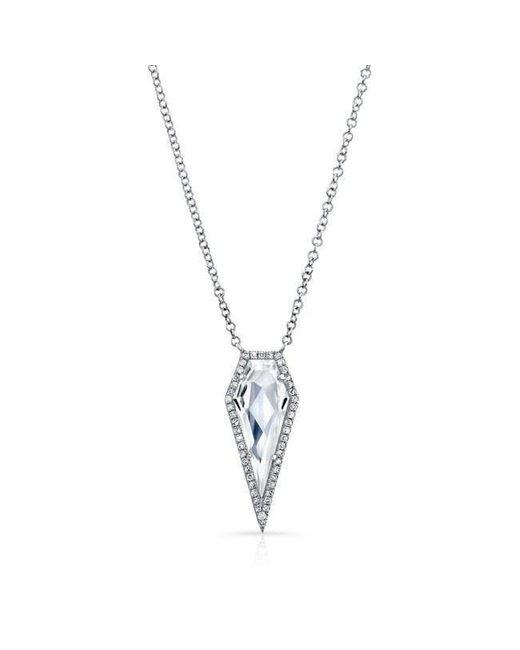 Anne Sisteron - 14kt White Gold White Topaz Diamond Spear Necklace - Lyst