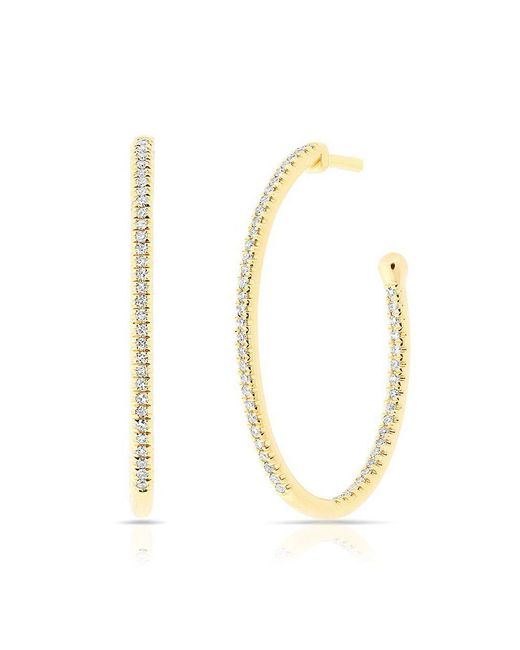 Anne Sisteron - Metallic 14kt Yellow Gold Diamond Oval Small Hoop Earrings - Lyst