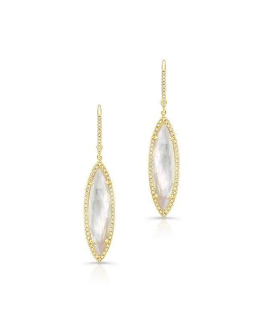 Anne Sisteron - Metallic 14kt Yellow Gold Diamond Mother Of Pearl Small Celeste Marquis Earrings - Lyst