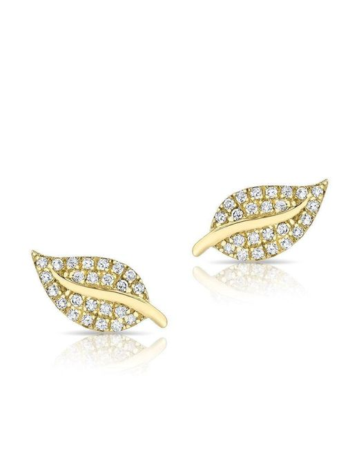Anne Sisteron - Metallic 14kt Yellow Gold Diamond Mini Tea Leaf Stud Earrings - Lyst
