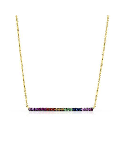 Anne Sisteron - Metallic 14kt Yellow Gold Oxidized Rainbow Bar Necklace - Lyst