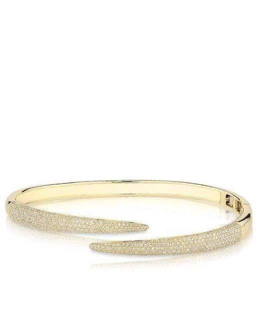 Anne Sisteron - Metallic 14kt Yellow Gold Diamond Horn Wrap Bangle - Lyst