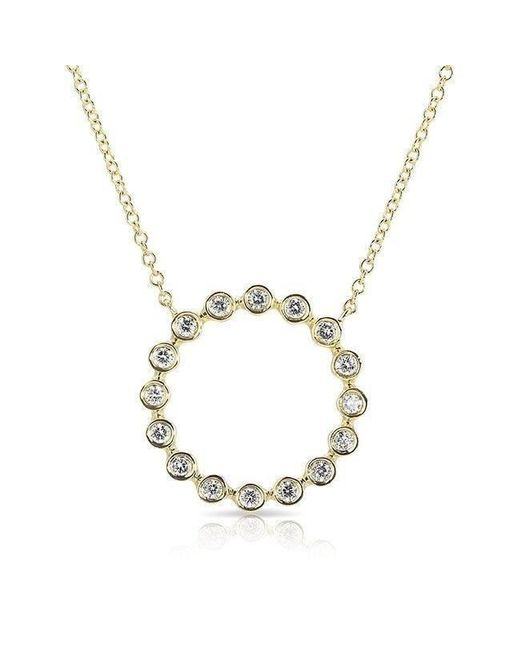 Anne Sisteron | Metallic 14kt Yellow Gold Open Circle Bezel Set Diamond Necklace | Lyst