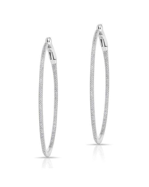 "Anne Sisteron - Multicolor 14kt White Gold Diamond 2"" Hoop Earrings - Lyst"