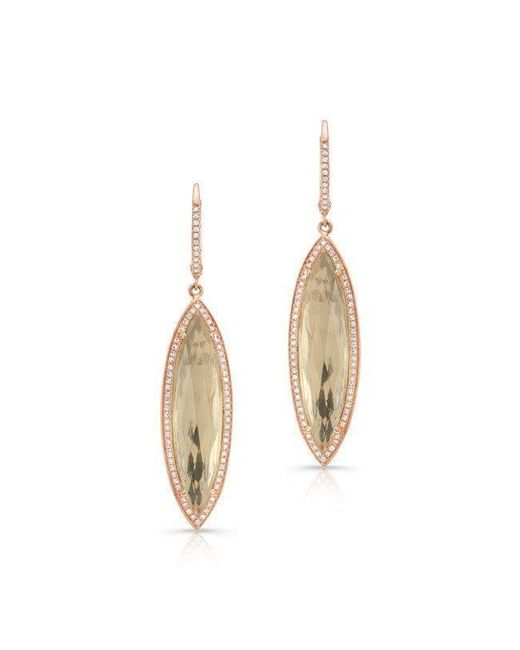 Anne Sisteron - Metallic 14kt Rose Gold Diamond White Topaz Serena Marquis Earrings - Lyst