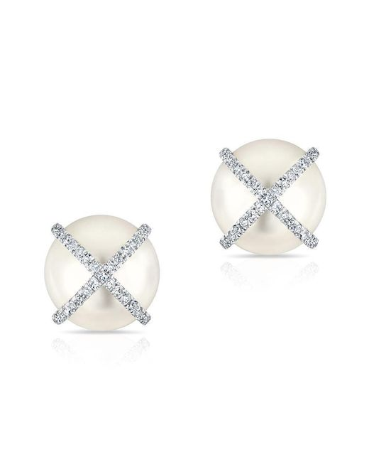 Anne Sisteron - Metallic 14kt White Gold Diamond X Pearl Stud Earrings - Lyst