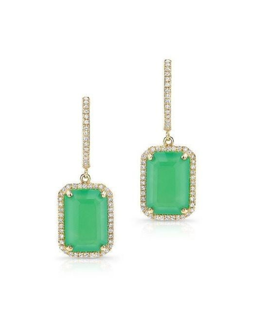 Anne Sisteron - Green 14kt Yellow Gold Rectangle Chrysoprase Diamond Earrings - Lyst