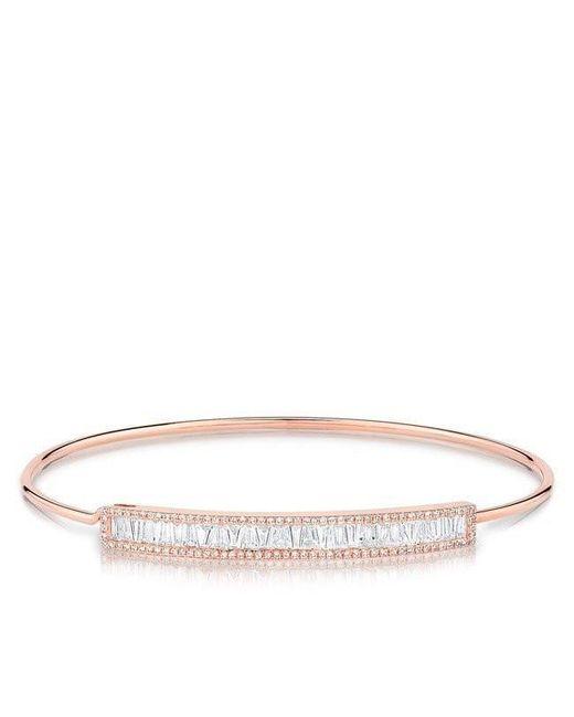Anne Sisteron - Metallic 14kt Rose Gold Diamond Baguette Latch Bracelet - Lyst